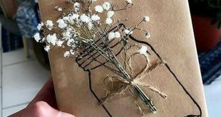 Brown paper bag gift wrap wrapping flowers #giftswrappingdiy
