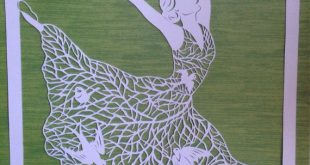 Original hand paper cut-Ballerina in a pretty dress
