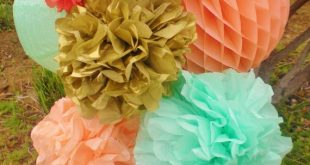 Coral, peach, mint, gold paper lanterns, honeycomb balls, tissue pom poms hanging decor burnt orange turquoise available spring party