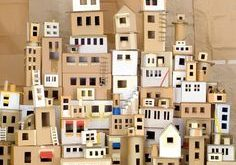 Paper house Cardboard city. Outline windows in masking tape. Hopefully will incl...