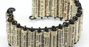 Papier-Perle Schmuck - Vintage Englisch Wörterbuch Upcycled Papier Perle Manschette Armband, Buch-Liebhaber-Geschenk, Wort Schmuck, Papierschmuck, Bücherwurm Geschenk