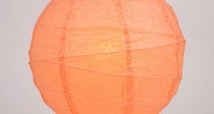 "8"" Peach / Orange Coral Round Paper Lantern, Crisscross Ribbing, Hanging Decoration"