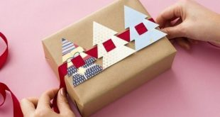 A cute decoration for packages...cut tree shapes out of wrapping paper or old Ch...