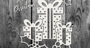 Christmas Present Design SVG PDF DXF Png Jpg - Papercutting / Vinyl Template to cut yourself (Commercial Use)