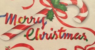 Vintage Christmas Gift Wrapping Paper - Red, Blue, Green Merry Christmas Ribbons and Candy Canes, Ornaments-1 Unused Partial Sheet Gift Wrap