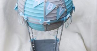 Large B-A-B-Y Bunting Hot Air Balloon Centerpiece - GREY/LIGHT BLUE // Hot Air Balloon Party Decorations