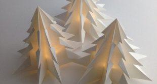 3 Pack Christmas Tree Decoration or Gift LED Warm Light White Paper Lantern Minimal Elegant Christmas Decor