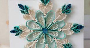 Aqua Blue Paper Quilled Schneeflocke Ornament