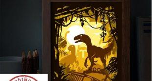 BOGO Jura Park [20x26 cm] – 3D Paper Cutting Light Box SVG Template files, 3D Shadow box Template SVG files
