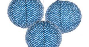 Blue Chevron Hanging Paper Lanterns