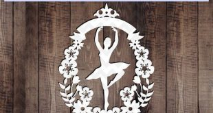 Customizable ballerina papercut template, ballet svg cutting file, floral wreath, cricut dxf pdf, png, paper art , flower eps, nursery svg