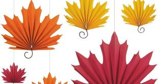 Fall Leaf Paper Fan Decorations 6ct Image #1