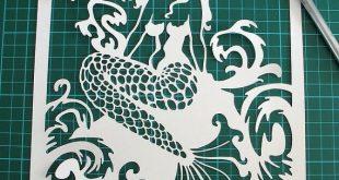 Mermaid Papercut Template, SVG, Paper Cutting Template, Digital Download, Papercut Template, Paper Cut Template, Papercutting, Commercial