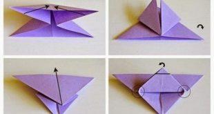 Origami Schmetterlinge, lila und gelb, niedliche Wanddekoration, Schritt für Schritt, DIY Tutor