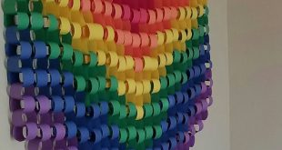 Paper Chain Rainbow wall hanging made from construction paper, original design