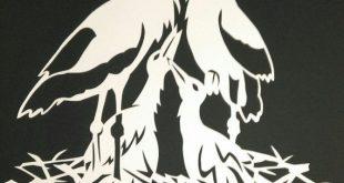 Paper Cut Scherenschnitt Modern Art FAMILIE von WattwurmAllerlei