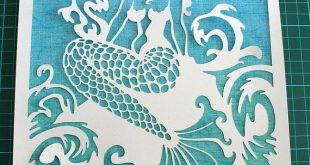 PaperCut-Art, Fantasy Mermaid Papier geschnitten Kunst, Fantasy Mermaid & stürm...