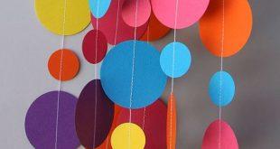 Rainbow paper garland, Birthday decorations, Birthday party decor, Circle paper garland, First birthday decor, Baby shower, KC-1090