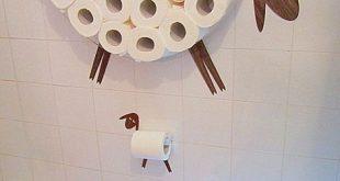 Satz: Wandregal für die Speicherung von Toilettenpapierrollen und WC-Papierhalter. Lustige Wall Decals Schaf und Lamm gemacht von verschiedenen Arten von veneers