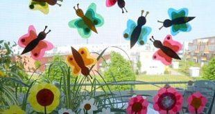Schmetterlinge aus Transparentpapier fürs Fenster - Tiere Basteln - Meine Enkel...