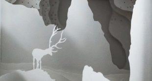Shadow Box Scherenschnitt handgefertigt; Papier-Diorama in einer Fassung aus Spanplatten und Kunststoff