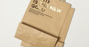 Uncoated and unbleached paper bags with gold foil print finish designed by Tomat...
