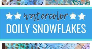 Watercolor Doily Snowflakes