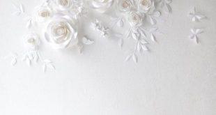 Weiße Hochzeit Papier Blumen - Papier Blumen - Papier Blumen Wand-Dekor - Papier Blumen Wand